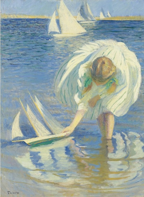 1Edmund Charles Tarbell (USA 1862-1938) Child with Boat (Girl with Sailboat) 1899